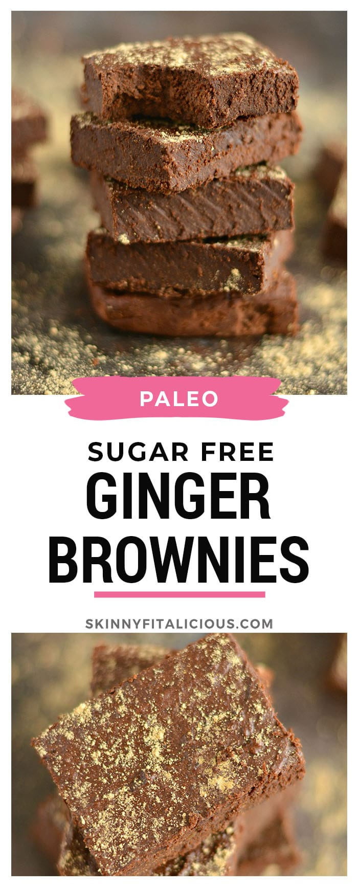 These Sugar Free Ginger CacaoBrownies are a chocolate lover's dream! Naturally sweetened & made with whole food ingredients, these brownies make the perfect healthy treat.Gluten Free + Low Calorie + Paleo