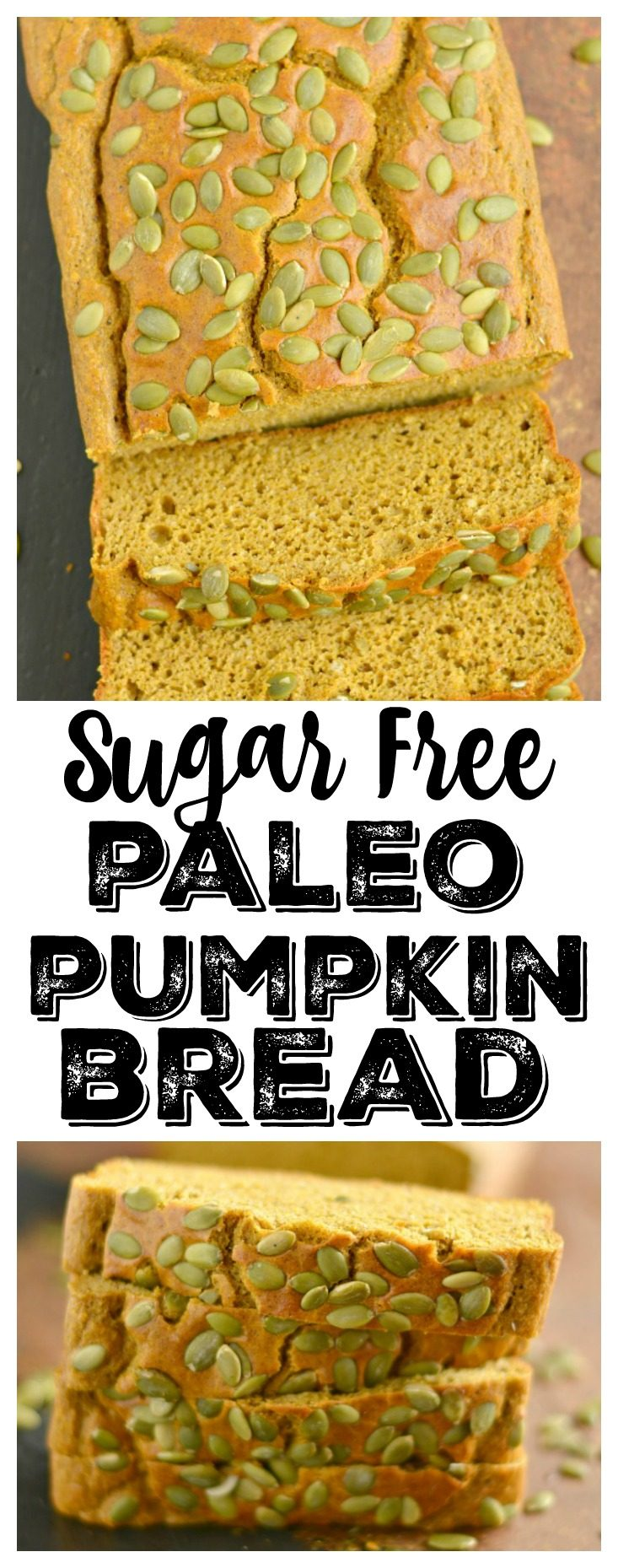 Wholesome & healthy Sugar Free Pumpkin Bread! A moist & flavorful bread that's thick & hearty. Perfect for breakfast, sandwiches, or an anytime snack.Gluten Free + Low Calorie + Paleo