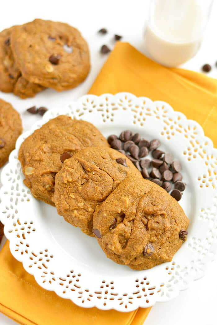 Perfectly soft baked Pumpkin Chocolate Chip Oatmeal Cookies made healthy with whole grains and no refined oil or sugar. A scrumptious treat that's easy to make with unbeatable flavor! Gluten Free + Low Calorie + Vegan