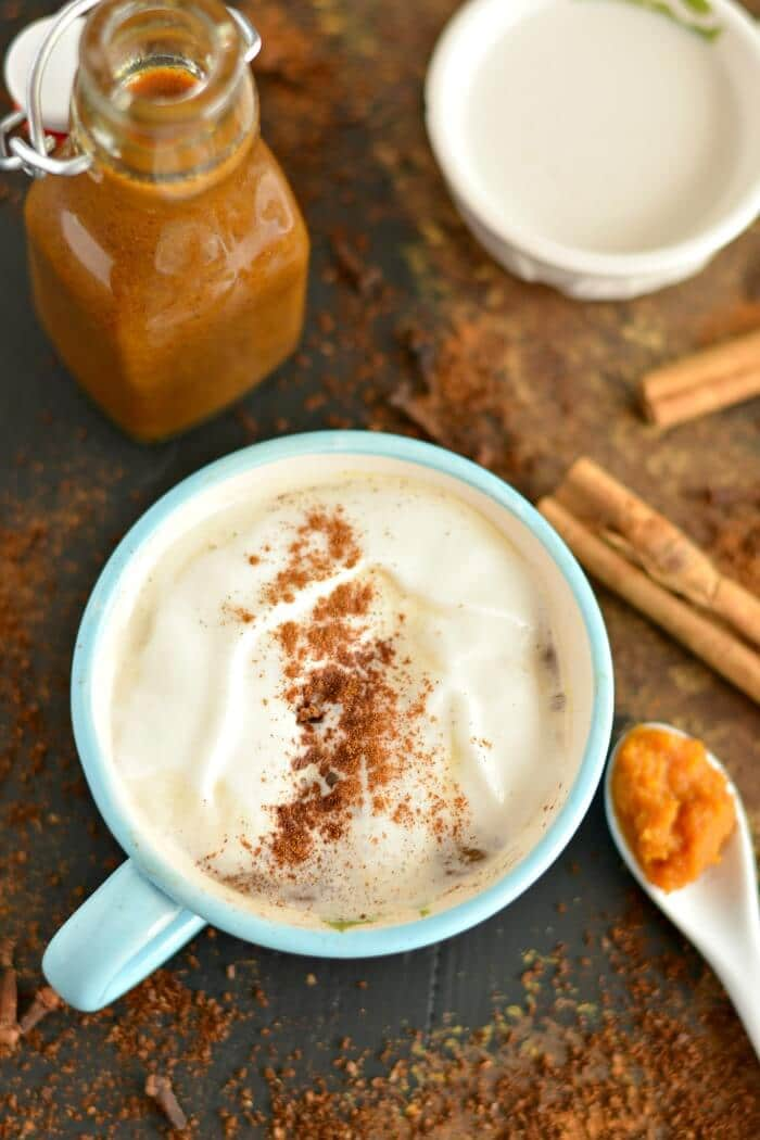 Homemade Turmeric Pumpkin Spice Coffee Syrup made with real pumpkin & comforting antioxidant rich spices. A syrup that adds flavor, not calories to your morning coffee! Store in the fridge for an easy addition to your morning routine. Gluten free + Low Calorie + Vegan + Paleo friendly