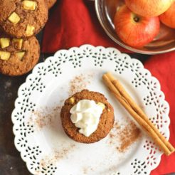 Warm Paleo Apple Cinnamon Muffins bursting with natural sweetness! Made with almond flour, these muffins are thick, hearty & make the perfect single-serve dessert or snack! Gluten Free + Low Calorie + Paleo
