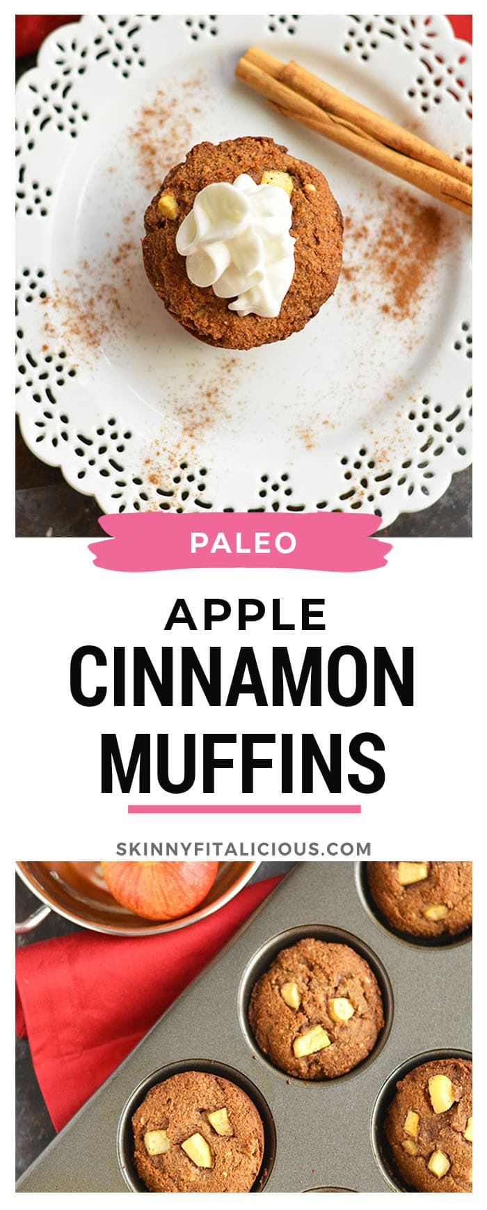 Warm Paleo Apple Cinnamon Muffins bursting with natural sweetness! Made with almond flour, these muffins are thick, hearty & make the perfect single-serve dessert or snack!