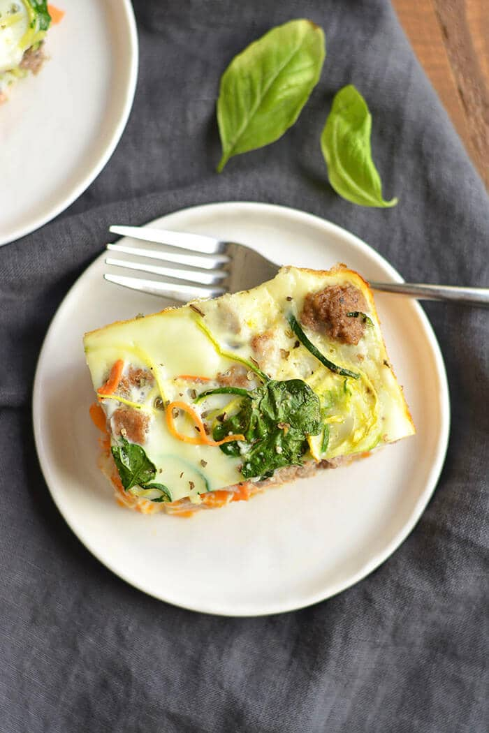 Wake up to a healthy Spiralized Breakfast Casserole made with wholesome ingredients, bursting with comforting flavors & packed with 20 grams of protein. This is one breakfast you will want to wake to! Paleo + Gluten Free + Low Carb + Low Calorie