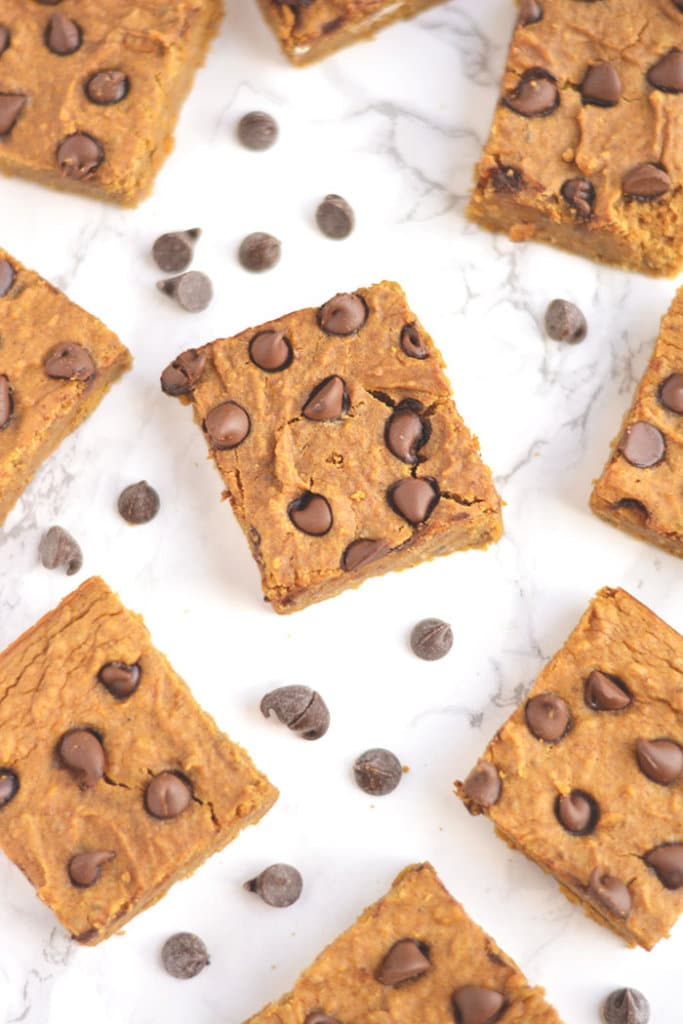 Chickpea Pumpkin Chocolate Protein Bars packed with protein & taste like pumpkin pie! Made with garbanzo beans, these ultra creamy bars are an easy blend & bake snack any will love. Gluten Free + Low Calorie