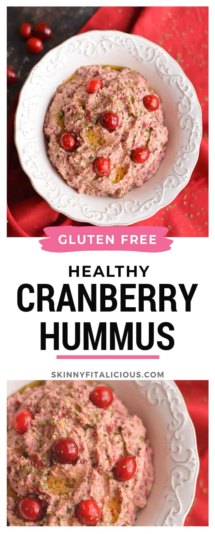 Spice things up with a Cranberry Hummus! This twist on traditional hummus makes a tasty holiday appetizer or winter snack and guaranteed to add a kick to your plate! Gluten Free + Low Calorie + Vegan
