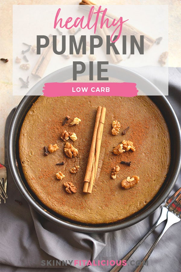 This Healthy Pumpkin Pie made with an addicting walnut date crust and topped with pumpkin custard is super easy to make and so delicious you won't want to share! What pumpkin pie dreams are made of!  Gluten Free + Low Calorie + Paleo