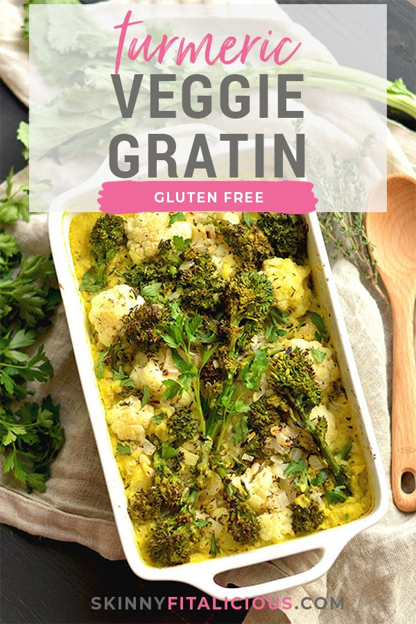 Turmeric Cauliflower Broccoli Gratin casserole made with a rich white wine sauce and sprinkled with parmesan cheese. A low carb side perfect for dinner or the holidays! Gluten Free + Low Calorie