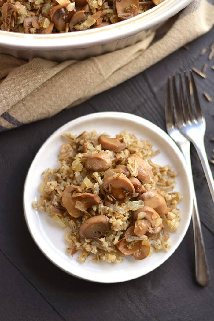 This Classic & Healthy Wild Rice Casserole is made with mushrooms & onions.  A hearty