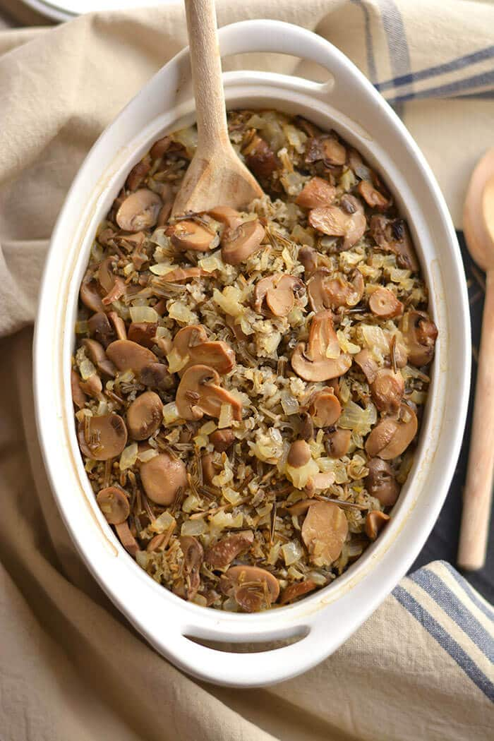 healthy wild rice casserole  gf  low cal  vegan