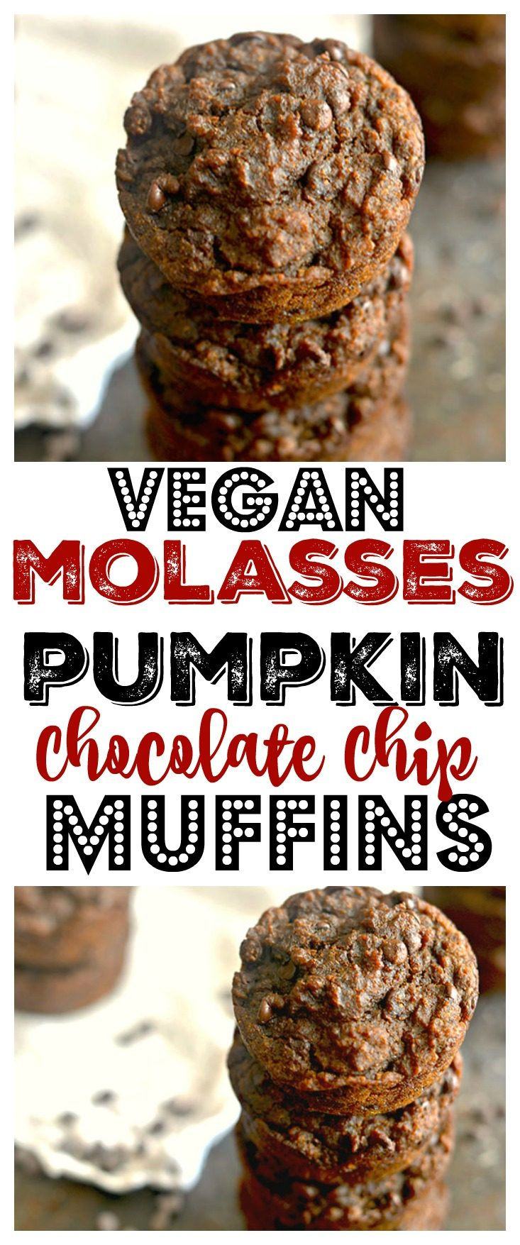 Healthy Molasses Pumpkin Chocolate Chip Muffins lightly sweetened with applesauce, brown sugar and molasses. A tasty chocolate treat packed with fall spices, irresistible flavors and 127 calories each! Gluten Free + Vegan + Low Calorie