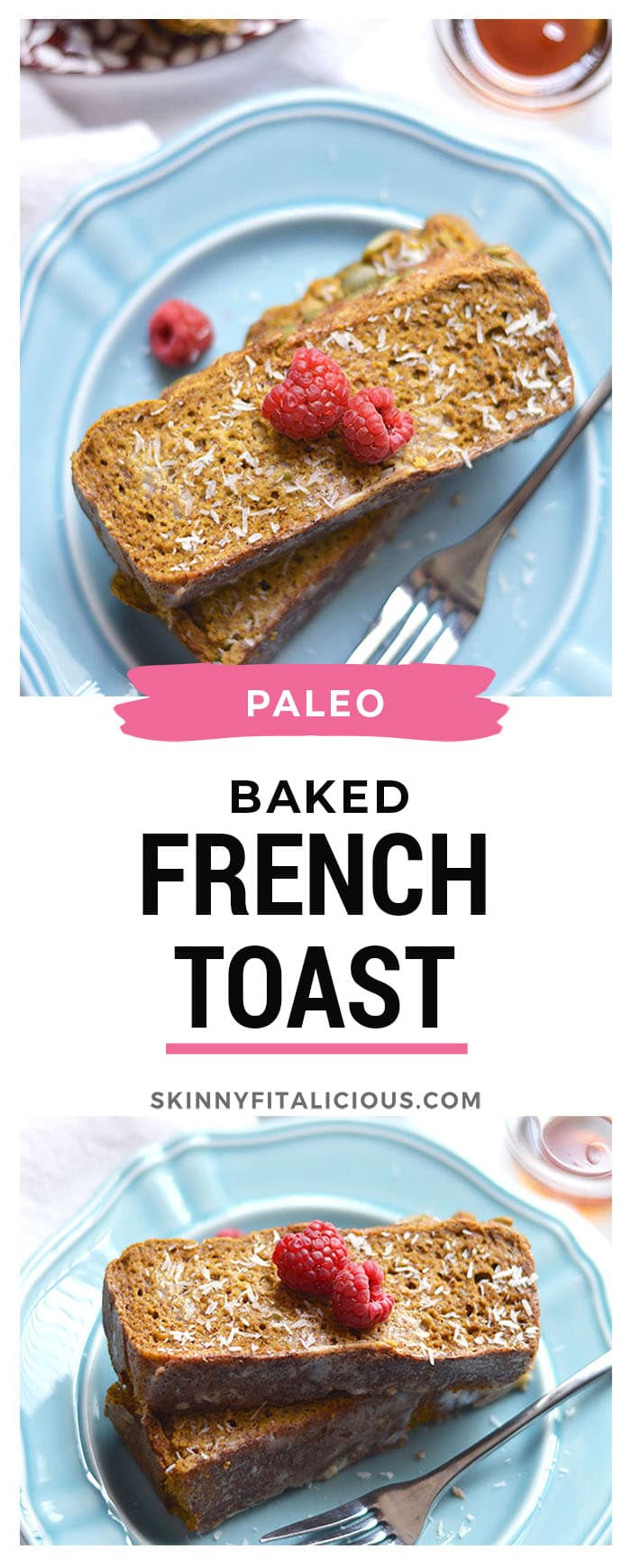 This Healthy Cinnamon Baked French Toast is baked and better for you! Made with sugar free pumpkin bread and warm spices. A nutritious breakfast to start your day! Paleo + Gluten Free + Low Calorie