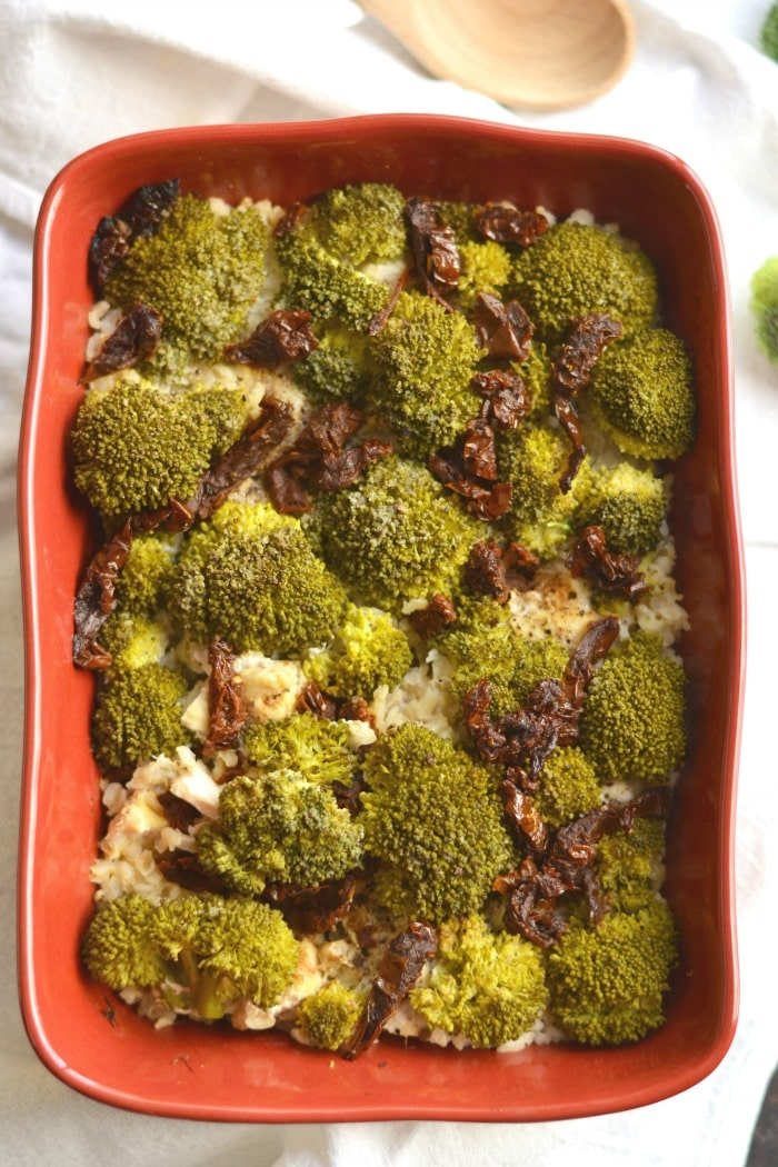 One Pan Chicken Broccoli Brown Rice Casserole flavored with sun-dried tomatoes and garlic, is a healthy and flavorful meal that involves almost no cleanup! A meal that can be prepped in advance making weeknight dinners a breeze. Gluten Free + Low Calorie