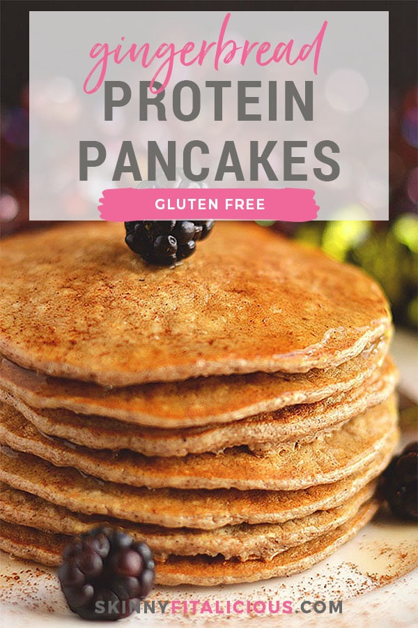 Bursting with winter spices, these Gingerbread Protein Pancakes are cozy, comforting & healthy! A seasonal protein packed breakfast that's easy & delicious! Gluten Free + Low Calorie