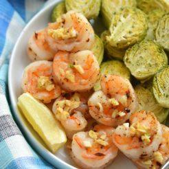 One Pan Lemon Garlic Shrimp & Brussels Sprouts {Whole30, GF, Low Cal, Paleo}