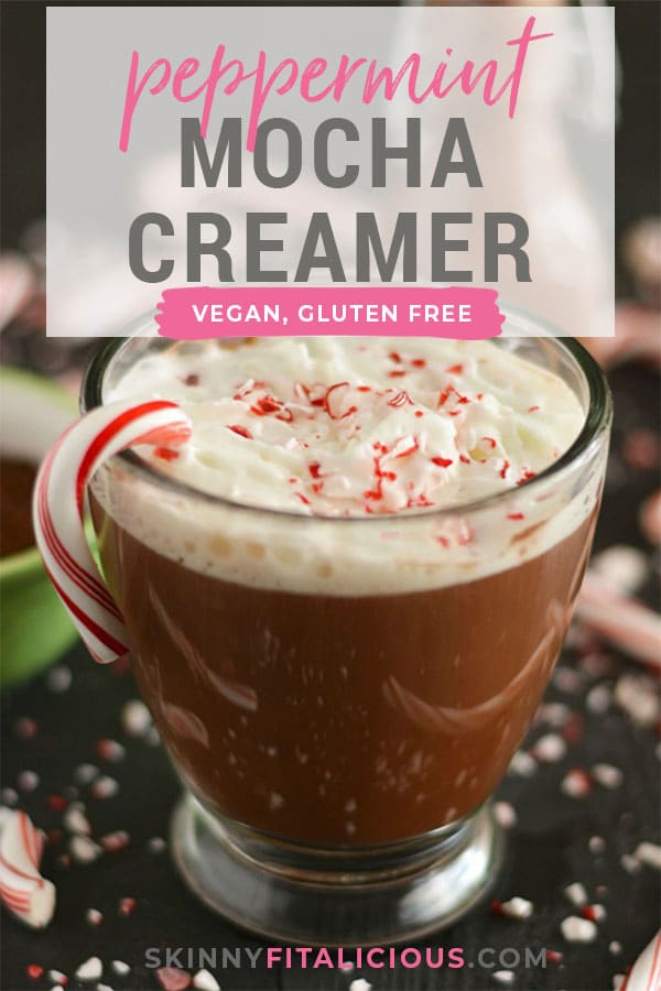 Spruce up your coffee with this Skinny Peppermint Mocha Coffee Creamer! Naturally sweetened, low in calories and dairy free, this healthy alternative to store creamers is free of preservatives and artificial ingredients.Gluten Free + Low Calorie + Vegan + Paleo