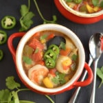 This Seafood Chili is hearty & healthy with a kick of spice. The perfect comforting meal for a cold day that's easy to make & warms the soul! Gluten Free + Low Calorie + Paleo