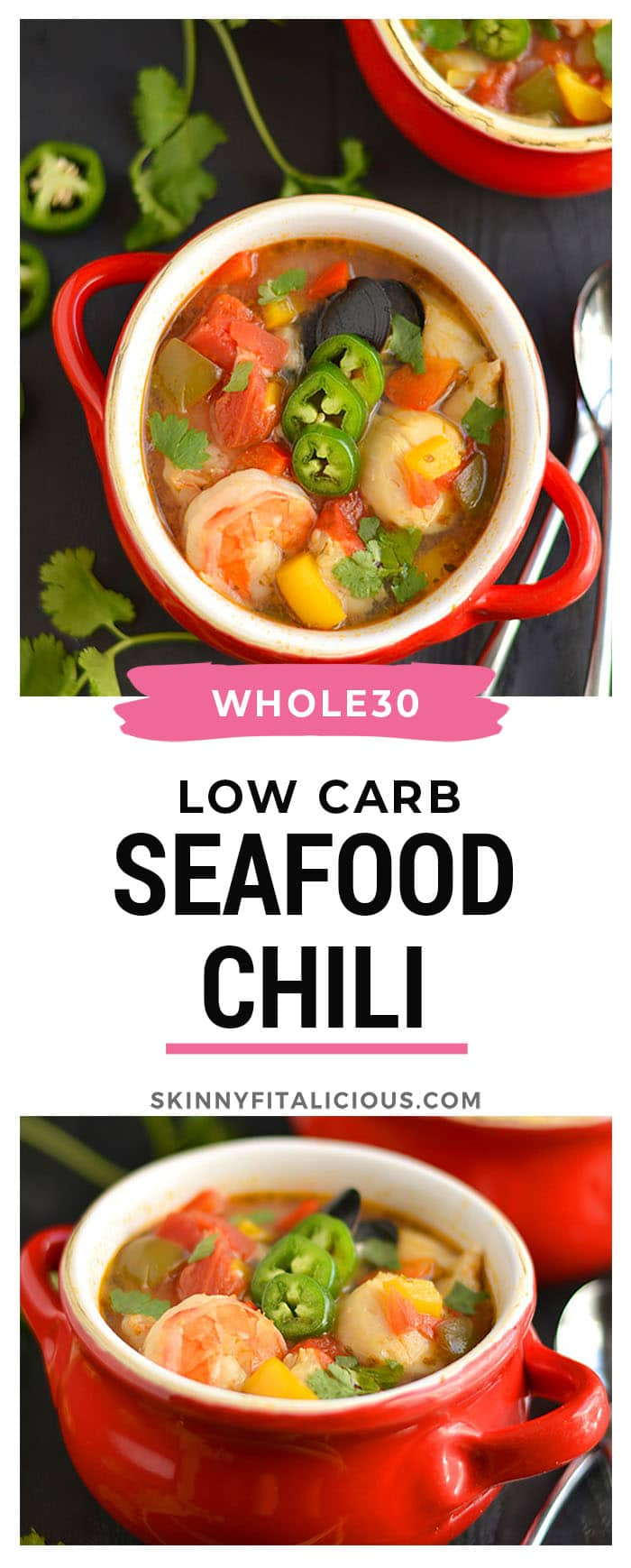 This Seafood Chili is hearty & healthy with a kick of spice. The perfect comforting meal for a cold day that warms the soul & takes 30 minutes to make! Gluten Free + Low Calorie + Paleo