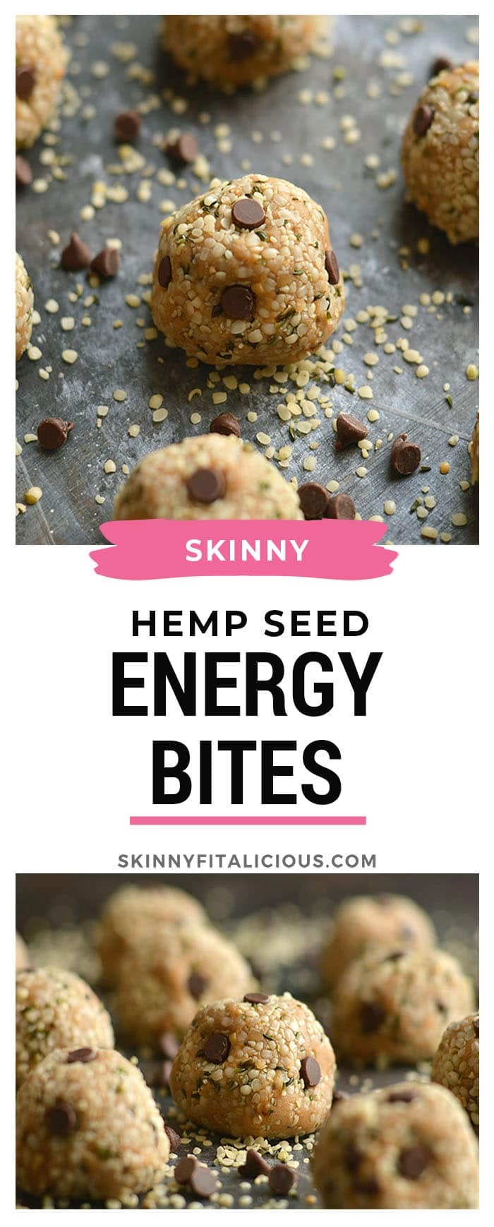 Hemp Seed Energy Bites made with creamy nut butter, chocolate and oat flour. High in omega-3 and low in sugar, a healthy 125 calorie snack perfect for on the go! Gluten Free + Low Calorie + Vegan