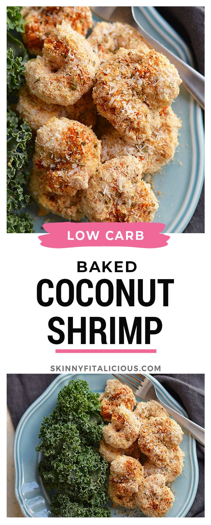 "One Pan Baked Coconut Shrimp! Crispy, crunchy, spicy shrimp baked to perfection on a sheet pan. A ""breaded"" shrimp recipe that's healthy and grain free.  Gluten Free + Low Calorie + Paleo"