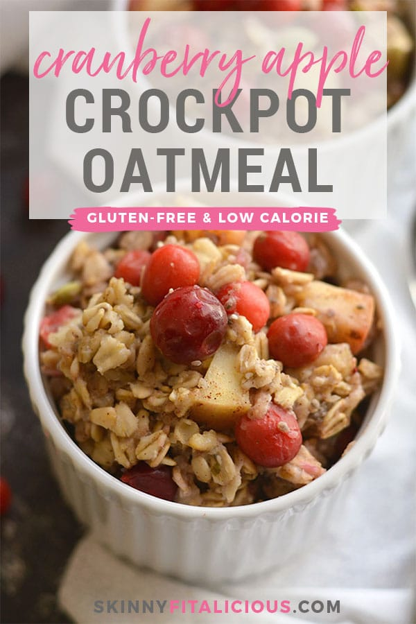 Cranberry Apple Crockpot Oatmeal is a healthier oatmeal balanced with protein & healthy fats. Just toss everything in a crockpot for an easy, make ahead breakfast! Gluten Free + Low Calorie