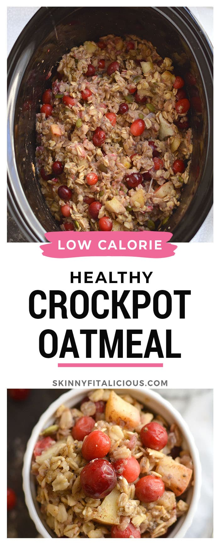 Cranberry Apple Crockpot Oatmeal is a healthier oatmeal balanced with protein and healthy fats. Just toss everything in a crockpot for an easy, make ahead breakfast! Gluten Free + Low Calorie