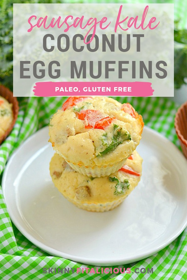 Paleo Sausage Kale Coconut Egg Muffins made with coconut flour for a rich, creamy texture. High protein, low carb breakfast muffins that are hearty, filling & taste like mini pizzas! Gluten Free + Low Calorie + Paleo