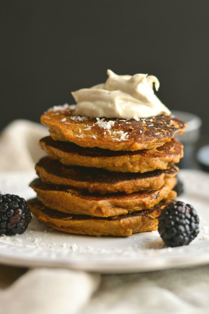 Coconut Sweet Potato Pancakes With Nut Butter Yogurt from skinnyfitalicious.com. I was looking for the best Paleo pancakes and these look amazing! I can't wait to make this for a grain free breakfast. Collected on FoodKollective.com
