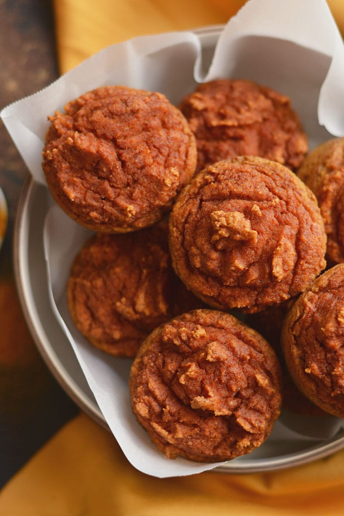 Healthy Turmeric Muffins made with golden milk! A creamy grain-free treat lightly sweetened with a subtle kick of spice! Paleo + Gluten Free + Low Calorie