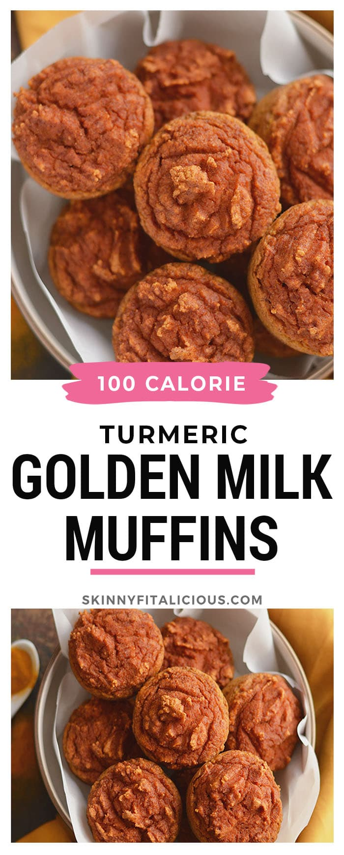 Healthy Turmeric Muffins made with golden milk! A creamy grain-free treat lightly sweetened with a subtle kick of spice and only 110 calories! Paleo + Gluten Free + Low Calorie