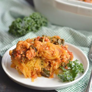 Paleo Spaghetti Squash Lasagna! A healthy casserole perfect for a make ahead meal. Easy to make, packed with protein, feeds a crowd and is freezer friendly! Gluten Free + Paleo + Low Calorie