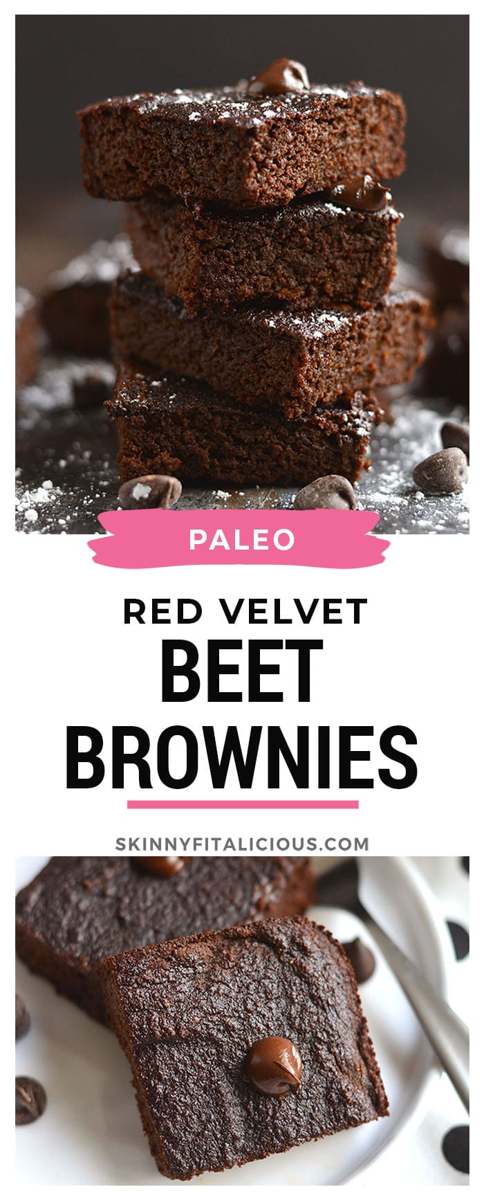 Luscious Red Velvet Beet Brownies! Made secretly healthy with beets, these brownies are rich, dark and chocolatey. Exactly the way brownies are meant, only healthier and a weight loss friendly recipe! Gluten Free + Low Calorie + Paleo