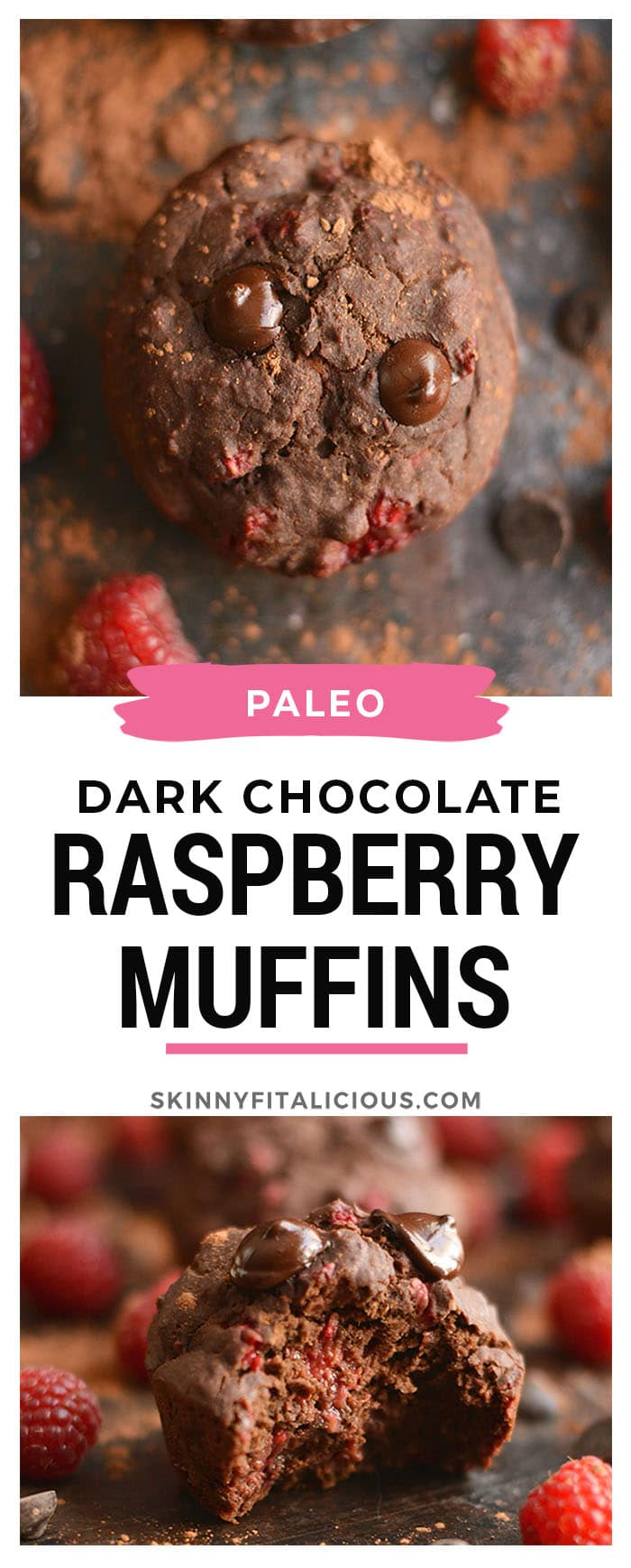 Dark Chocolate Raspberry Muffins bursting with a creamy berry center surrounded by irresistible dark chocolate! A healthier cupcake-like treat that's weight loss friendly. Gluten Free + Low Calorie + Paleo