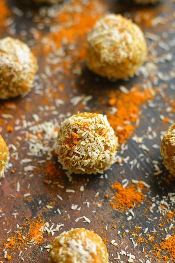 Turmeric Protein Bites made oil & sugar free! These gluten free healthy protein packed snacks have a boost of antioxidants & creamy flavor! Gluten Free + Low Calorie Weight Loss Friendly