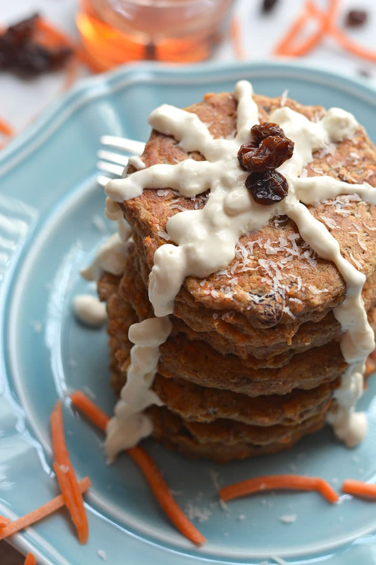 Healthy Carrot Cake Pancakes with Greek Cream Cheese (GF ...