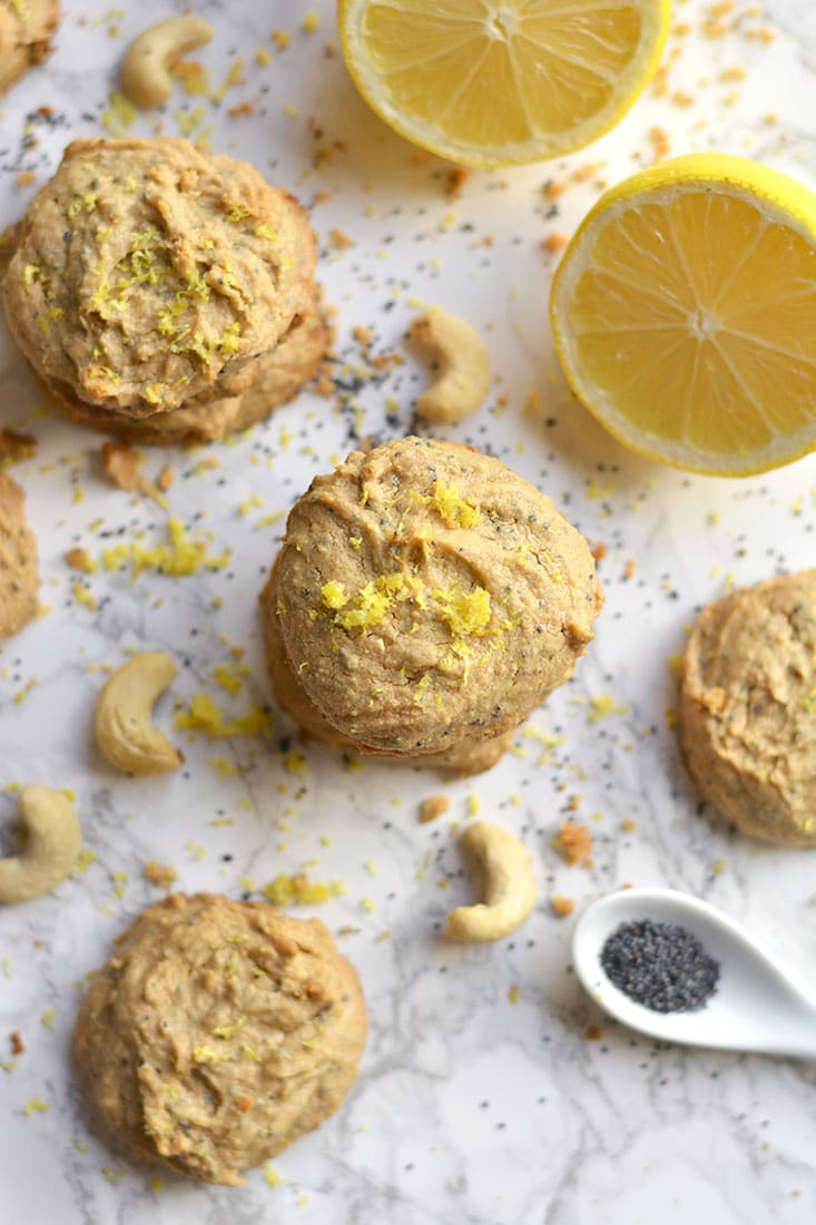 Lemon Poppy Seed Cashew Cookies! Made flourless with nut butter & only 4 ingredients, these bursting with citrus goodies are sure to brighten any day! Paleo + Vegan + Gluten Free + Low Calorie