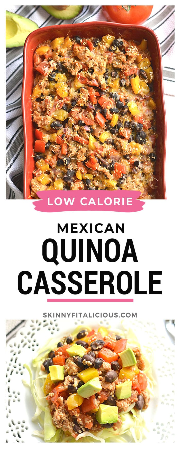 Mexican Quinoa Casserole! Made with black beans, chicken and array of vegetables, this is tasty dish is one the entire family will love! Gluten Free + Low Calorie!