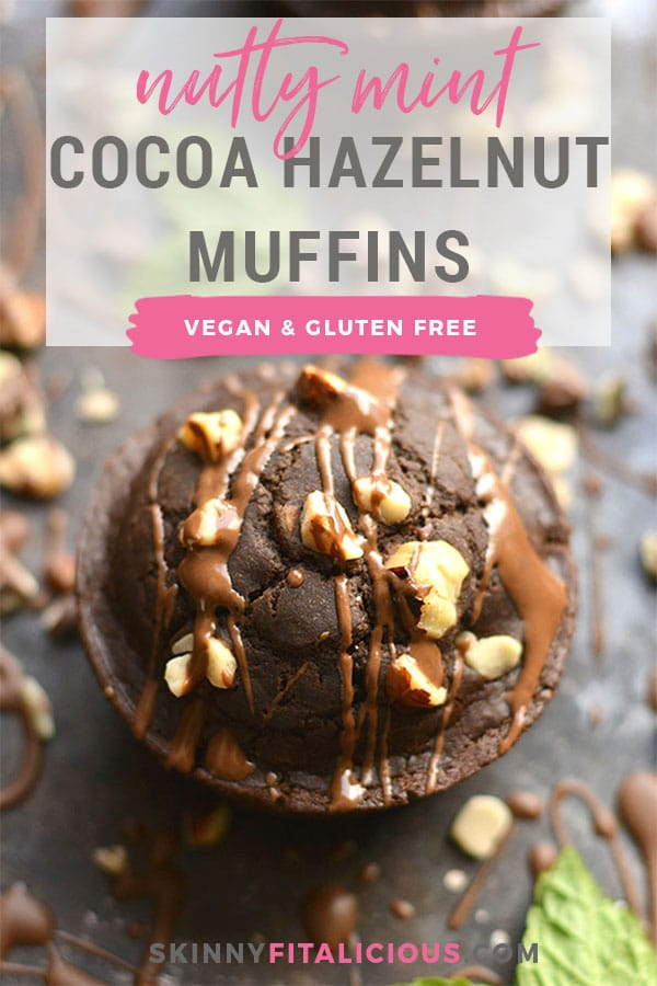 Nutty Mint Chocolate Muffins! Bursting with rich dark cocoa, mint flavor & crunchy hazelnuts, these vegan muffinsmakemouthwatering minidesserts. A healthy way to satisfy a sweet tooth! Gluten Free + Vegan + Low Calorie!