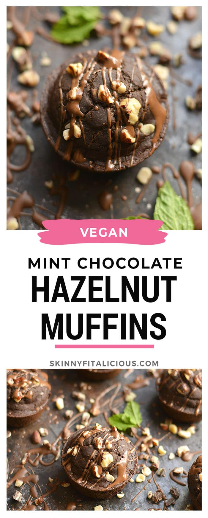Mint Chocolate Hazelnut Muffins! Bursting with rich dark cocoa, mint flavor & crunchy hazelnuts, these vegan muffinsmakemouthwatering minidesserts. A healthy way to satisfy a sweet tooth! Gluten Free + Vegan + Low Calorie!