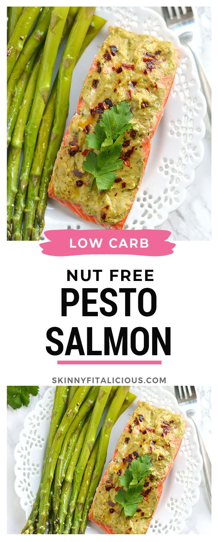 20 Minute Baked Pesto Salmon. Steamed in foil packs, this Paleo, low calorie, gluten free meal is a healthy twist on a dinner favorite served with nut free pesto! Whole30 + Gluten Free + Low Calorie + Paleo + Low Carb