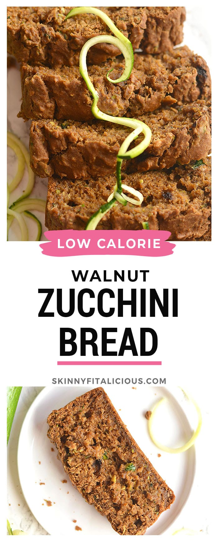 Zucchini Walnut Espresso Bread made healthy and spiked with espresso for a velvety texture you can't resist. Perfect for breakfast or an anytime snack. Gluten Free + Low Calorie