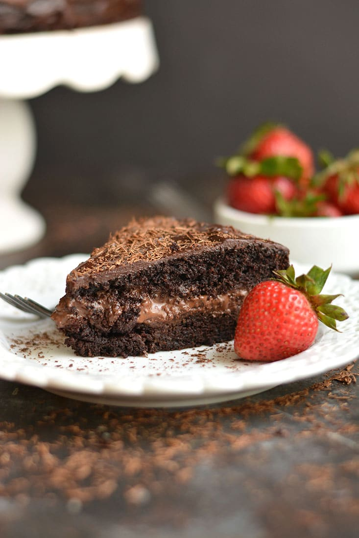 This Paleo Healthy Chocolate Cake is a healthier version of cake and easy to make with almond flour, maple syrup, cocoa, coconut cream & chocolate. The chocolate ganache center is truly irresistible. Guaranteed to be loved by the entire family! Gluten Free + Low Calorie + Paleo
