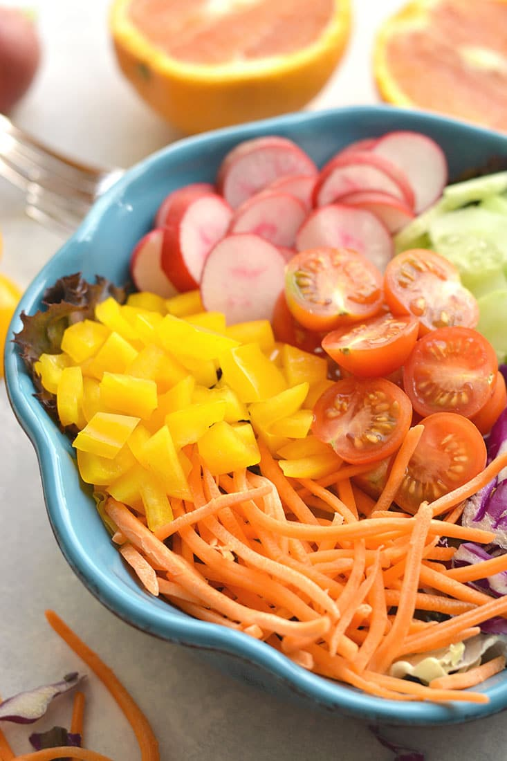 Rainbow detox salad with orange dressing gf low cal vegan paleo a rainbow detox salad packed with fresh healthy ingredients and a light orange dressing forumfinder Images
