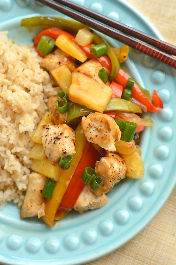 This Sheet Pan Sweet & Sour Chicken is baked to perfection on one pan in 20-minutes. A quick & easy meal that's a healthier version of take-out! Pair with brown or cauliflower rice for a complete meal. Gluten Free + Low Calorie!