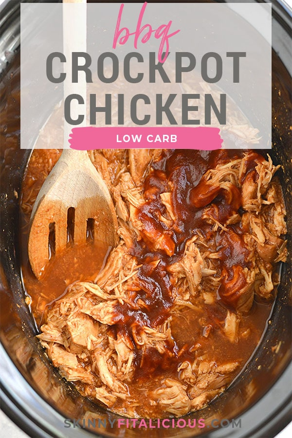 This Healthy Crockpot BBQ Chicken recipe is perfect for meal prep for make ahead lunch and dinner. Protein packed and made low in sugar with only 3 ingredients. A healthy meal and the crockpot does all the work! Gluten Free + Low Calorie + Low Carb