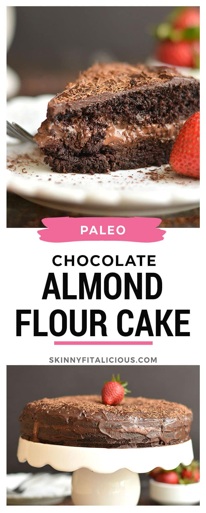 This Paleo Healthy Chocolate Cake is a healthier version of cake and easy to make with almond flour, maple syrup, cocoa, coconut cream & chocolate. The chocolate ganache center is truly irresistible. Guaranteed to be loved by the entire family!