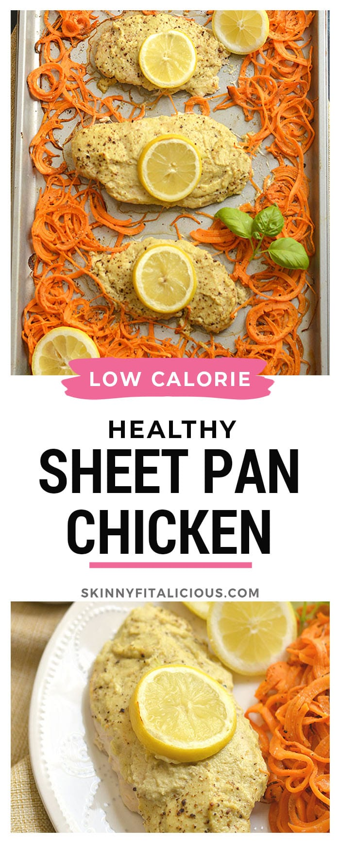Sheet Pan Hummus Chicken marinated in Paleo zucchini hummus turns boring chicken into a flavorful meal. Paired withspiralized sweet potato for a french fry like side. All made on one sheet pan in 20 minutes! Paleo + Gluten Free + Low Calorie