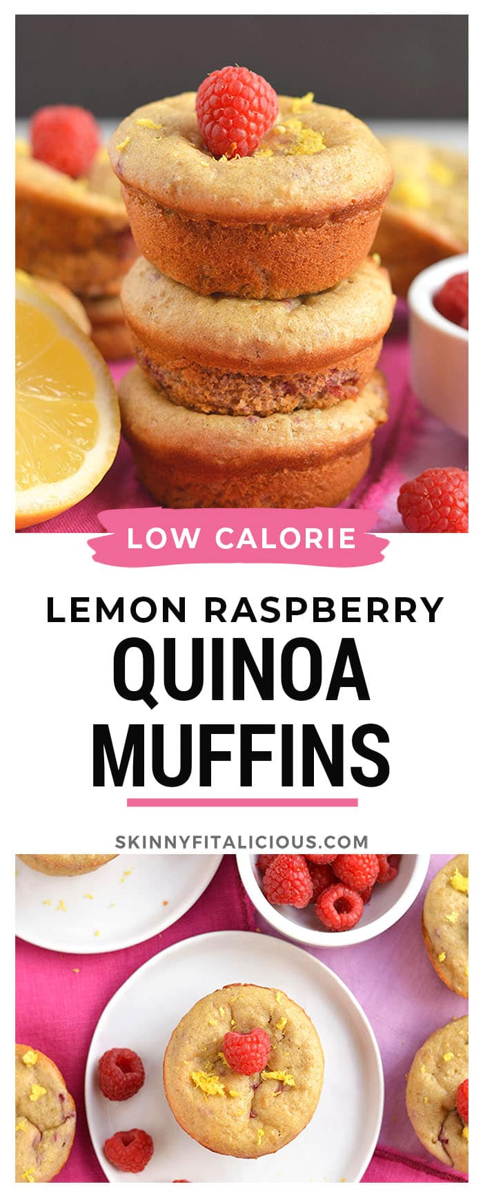 Moist and fluffy Raspberry Lemon Quinoa Muffins! These protein-packed muffins have summery flavors, are lightly sweet and packed with nourishment. Great for breakfast, brunch, or anytime! Gluten Free + Low Calorie