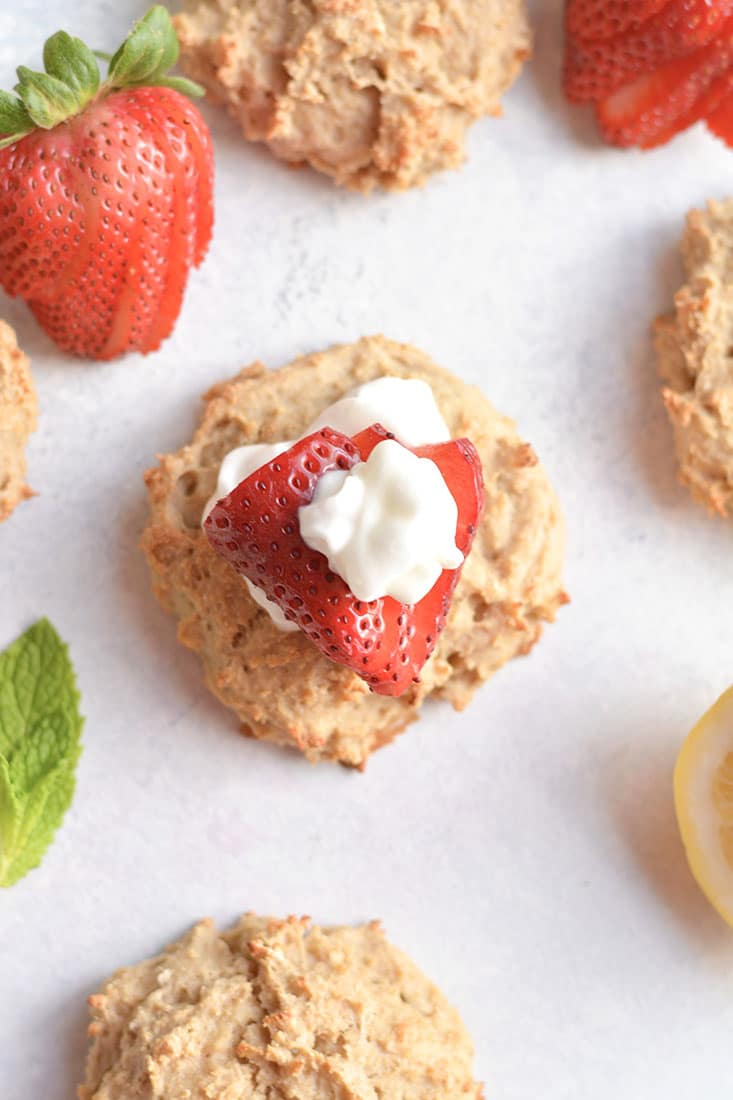 Skinny Strawberry Shortcake made nutritionally balanced with protein & oats in biscuit form for a portioned controlled dessert or snack. Perfect for those watching their weight or trying to lose weight. Gluten Free + Low Calorie