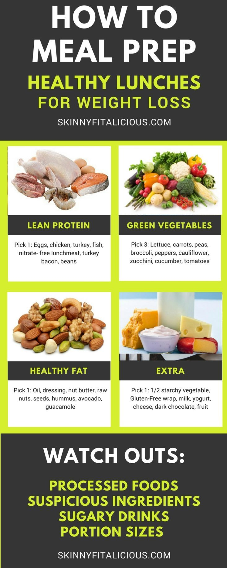 How to MealPrep Healthy Lunches for Weight Loss as well as tips for pairing foods together properly so you're eating the right portions.