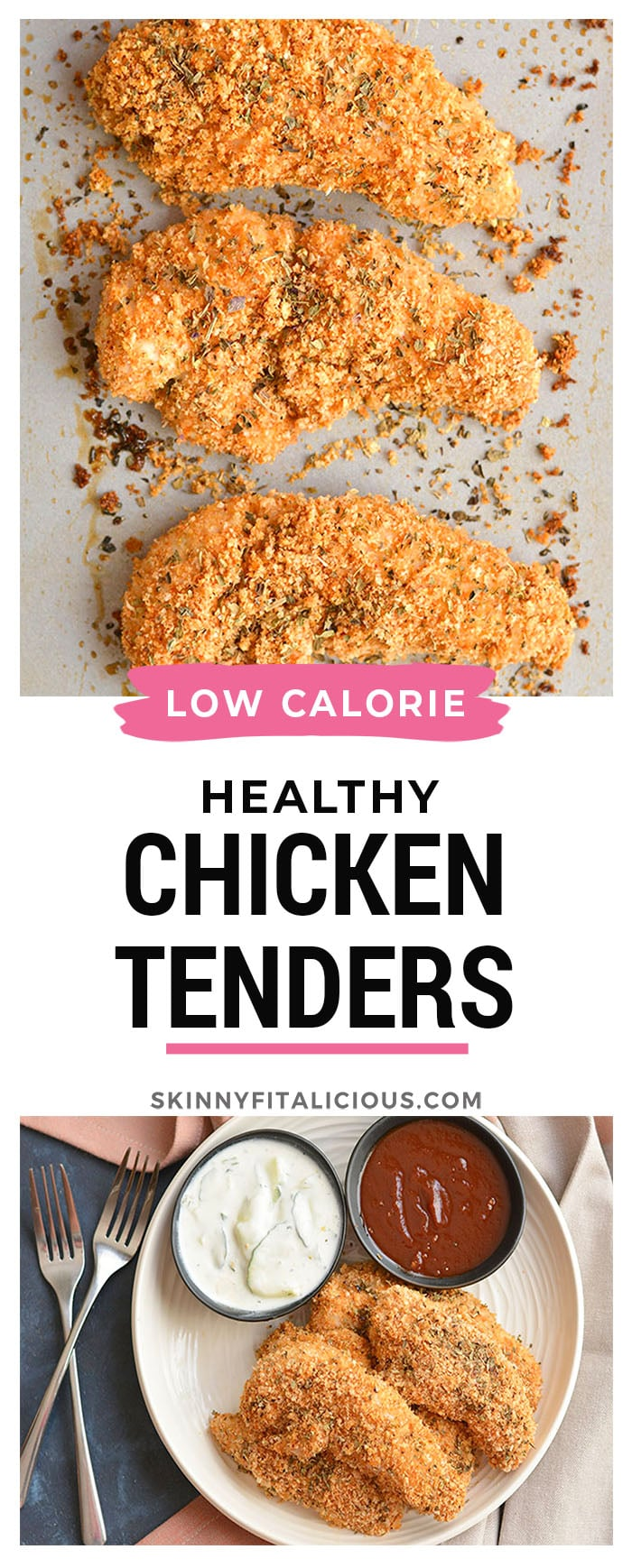 Healthy ChickenFingers have the same crunch asfried chicken for a fraction of the calories! Made with 4 ingredients, thisGluten Free meal is one you can feel good about eating!